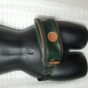 Vintage 90's Preppy G.H. Bass Hunter Green Leather Fanny Pack Bag
